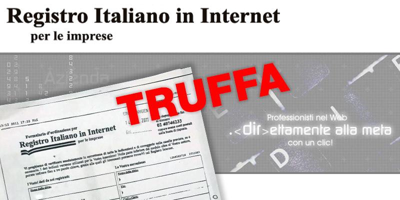 truffa sul registro italiano in internet per le imprese